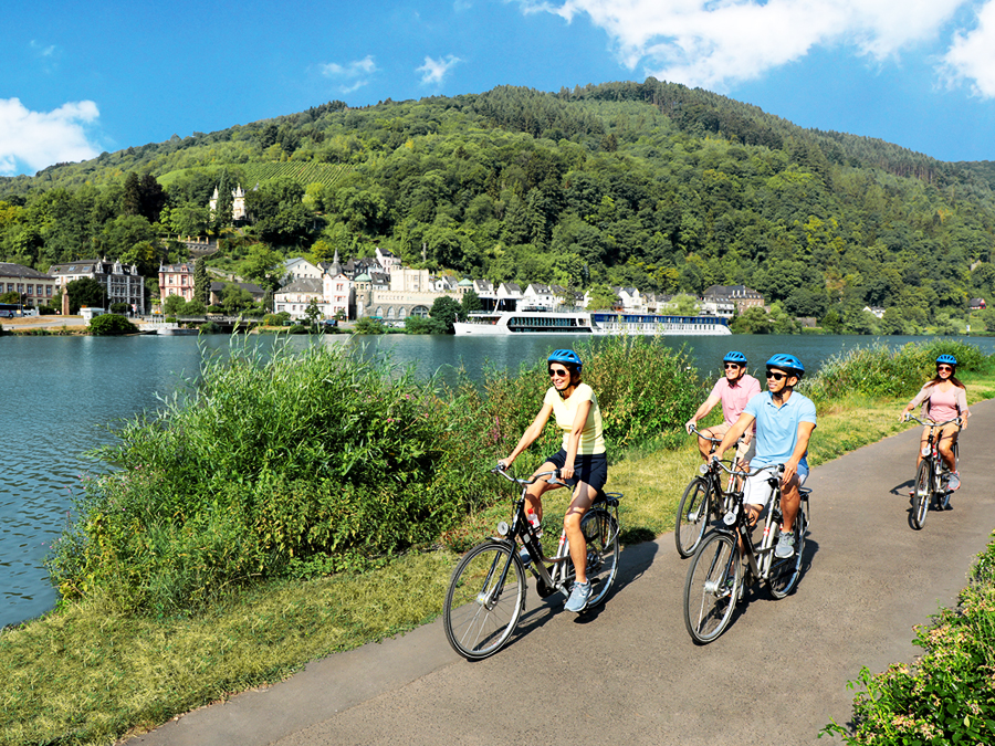 Rhine Bicycling along side Moselle River