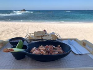 Fresh seafood lunch on the beach