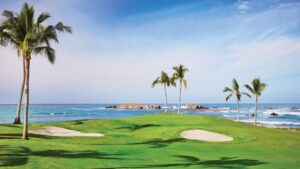 """The famous """"Tail of the Whale"""" hole 3B at Pacifico Golf Course"""